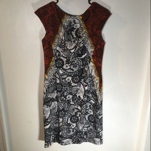 Black White Orange yellow Maggy London Dress A39